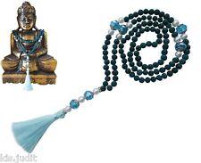 Collana Mala Rosario 108+1 pietra lavica lava verde acqua perle bianche - Nepal