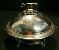 Antique Victorian Simpson, Hall & Miller Co Treble Plate Cow Covered Butter Dish