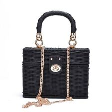 Women Rattan Bag Blag Box Shoulder Bag Chain Strap Vintage Straw Handbag