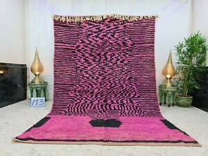 "Moroccan Boujaad Handmade Rug 6'2""x9'8"" Berber Patchwork Pink Black Wool Carpet"