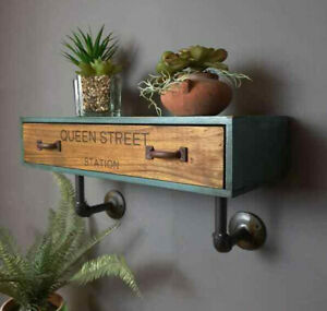 Industrial Wooden Drawer Shelf Pipe Unit Wall Mounted Display Storage Cabinet
