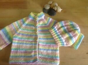 Knitting pattern for Top down Baby Rainbow cardigan and hat.