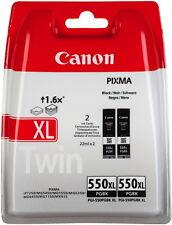 2 Canon Druckerpatronen original Tinte PGI-550 XL PGBK black, schwarz Doppelpack