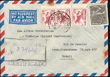 2937 CHILE TO BRAZIL REGISTERED AIR MAIL COVER 1956 SANTIAGO - RIO DE JANEIRO