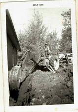 Old Vintage Antique Photograph Man Doing Work With Bulldozer in Yard 1966
