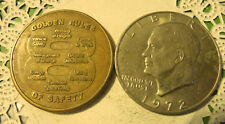 Commerative large/dollar size /heavy medal/Token /Golden Rules of Saftey  #94