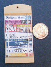 1:12 Scale Dolls House Miniature Wooden Newspaper Rack With UK Newspapers