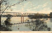 Rockford Illinois~Multi-span Thru Truss Nelson Bridge~Reflection~c1910 Postcard