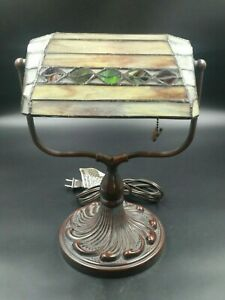 Stained Glass Tiffany Style Bankers Desk Lamp Tan Brown Green Butterfly Pull