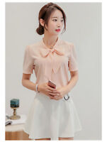 Women Bowknot Loose Chiffon Tops Short Sleeve Shirt Casual Blouse Summer