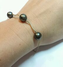 Genuine black gray Tahitian pearl solid 14k yellow gold bracelet wave twist