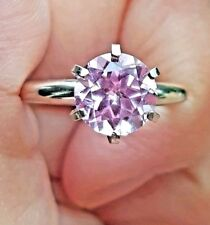 1.05CT Natural VS Pink Sapphire Solitaire 14K Solid White Gold Ring Engagement