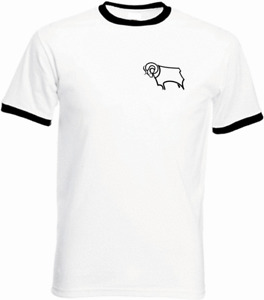 Derby County FC Home Retro Football T Shirt Ringer Classic Vintage New All Sizes