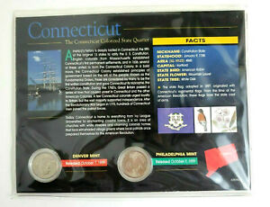 NEW SEALED CONNECTICUT COLORIZED STATE QUARTERS COA 1999 US MINT PHILLY DENVER