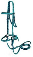 Braided Nylon Bitless Bridle with Knotted Reins - TEAL - New Horse Tack