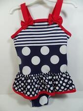 Girl's H&M Patriotic Nautical Red White Blue Polka Dot Ruffled Swimsuit, 1-2 Yrs