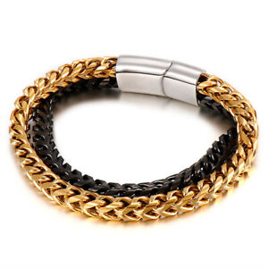 New Gold Black Men Wristband 316L Stainless Steel Two Row Biker Chain Bracelet