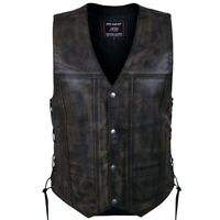 2Fit Men's Distressed Leather 10 Pockets Motorcycle Biker Vest size S to 6XL