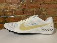 Nike Zoom Victory 3 Track Spike Shoes White Gold Colorado Mens Size 12.5 AA6444