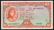 Currency Commission Ireland 10 Shillings 1940, War Code K, date 5.12.40. GVF