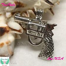 Silver Pearl Cage Pendant - Revolver Pistol Gun Fun Gift!!