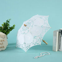 Vintage 23'' White Lace Embroidered Parasol Sun Umbrella Bridal Wedding