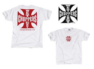 """West Coast Choppers T Shirt Long Beach in Weiß Modell Red Iron Cross """" Neu"""""""