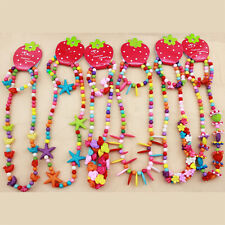 6 Sets Girl Kids Toddlers Lovely Animals Flowers Necklace Bracelet Jewelry Set