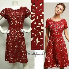 MOULINETTE SOEURS Anthropologie ALIZ LASER CUT Lace RED FIT & FLARE Dress 8 $228