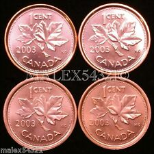 CANADA SET OF 4 DIFFERENT 2003 1 CENT UNCIRCULATED
