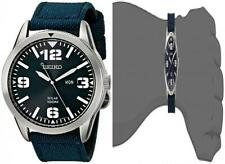 Seiko Men's Blue Dial Nylon Strap Solar Watch