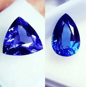 Loose Gemstone Natural 8 to 10 Cts Certified Blue Sapphire & Tanzanite Pair