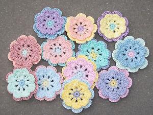 12 handmade cotton thread crochet applique flowers -- 3174