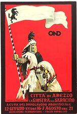 CITTA' DI AREZZO OND LA GIOSTRA DEL SARACINO 1938 XVI° cartolina ill. Novarese
