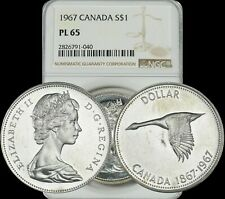 1967 CANADA GOOSE SILVER $1 DOLLAR NGC PL65 PROOF LIKE HIGH GRADE COIN!