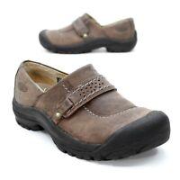 Keen Ladies 6.5 (37) Kaci Slip On Walking Loafers Brown Leather Bumper Toe Clogs