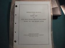1969 Stop Shop Model Dl Disc Brake Lathe Operating Instructions And Parts List