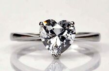925 Sterling Silver Amazing Heart Shape 3.00 Carat Women's Anniversary Ring