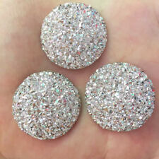 Hot 8pcs AB resin 30mm cabochon Ore Round Flatback Rhinestone wedding DIY/silver
