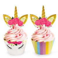 48x Unicorn Cake Cupcake Topper & Wrapper Baby Shower Kids Birthday Party Decor