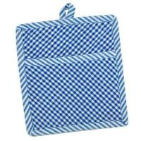 Set of 2 Blue and White Check Quilted Cotton Pocket Pot Holders