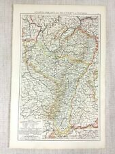 1898 Antique Map Alsace Lorraine Palatinate of Bavaria Old 19th Century Europe