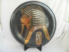 "Egyptian Brass Wall Decor Plate Black Oxidized Pharaonic King Tut Mask 15.5"""