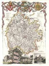Herefordshire antique hand-coloured county map by Thomas MOULE c1840 old