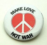 Vintage Make Love Not War Peace Sign Anti Draft 1980s Button Pin NOS New