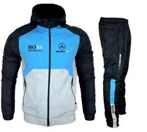 Survêtement Jogging Training AMG Mercedes Bleu Ciel noir nouveauté Beyaz-NBB