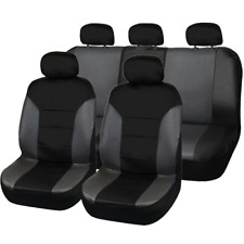 9X Full Set Black+Gray Breathable PU Leather Car SUV Seat Covers Seat Protector