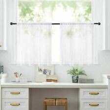 2 Panels Half Window Sheer Curtains Rod Pocket Voile Drapes White 29'W x 24'L