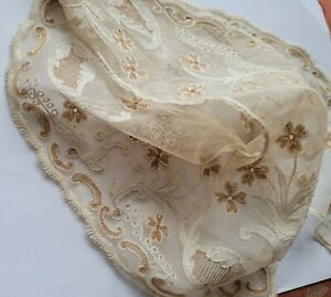 """French Antique Lace Collar Embroidered tulle hand needle made 21"""" ladies Tambour"""