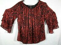 roz&ali Dressbarn 1 X Red & Black Lined Ruffle Sleeve Top